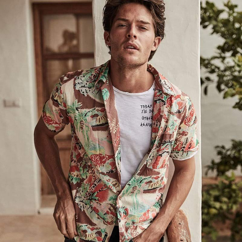 ront and center, Cesar Casier appears in Replay's spring-summer 2019 campaign.