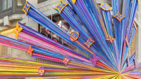 Sarah Crowner's Hot Pink Frieze Lights Up The New Art-Filled Louis Vuitton Store